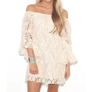 Elan Lace Off-Shoulder Dress / Tunic Ivory Small